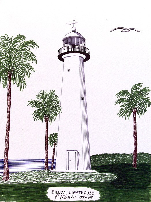 Biloxi Lighthouse Greeting Card For Sale By Frederic Kohli