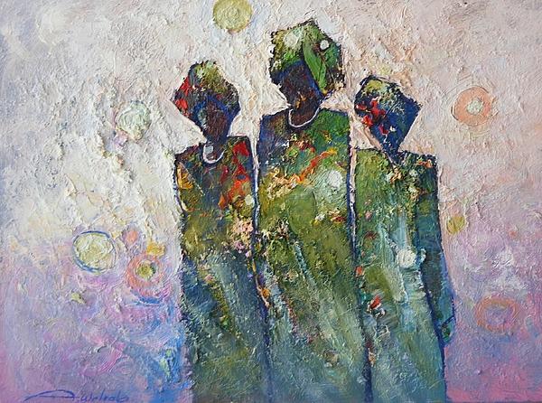 Abdelwahab Nour - Green Dressed Figures