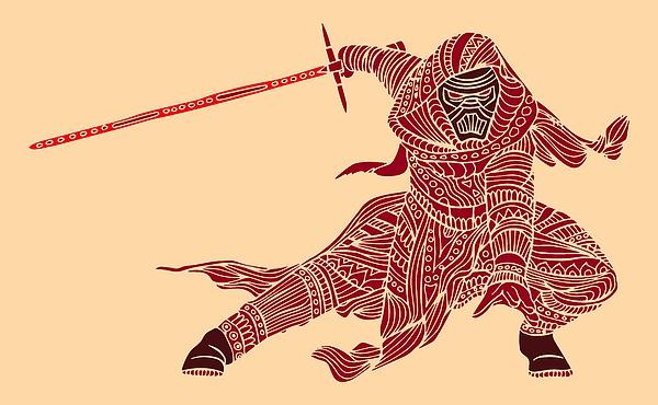 Kylo Ren - Star Wars Art - Red Mixed Media