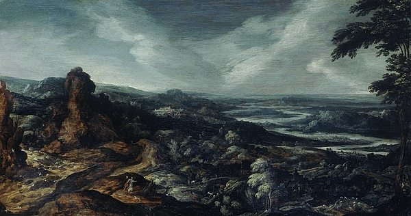 Kerstiaen de Keuninck - Panoramic Landscape with Tobias and the Angel, Kerstiaen de Keuninck attributed to, 1615 - 1625