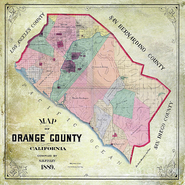 1889 Orange County California Map Carry-all Pouch on map of cal poly slo campus, map of california showing fortuna, map of fortuna ca, map of humboldt county ca, map of eureka ca area,