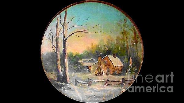 Michael Hoard - Virginia 19th Century Painting Log Cabin Snow Landscape