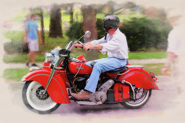 1947 Indian Chief With Sidecar Greeting Card