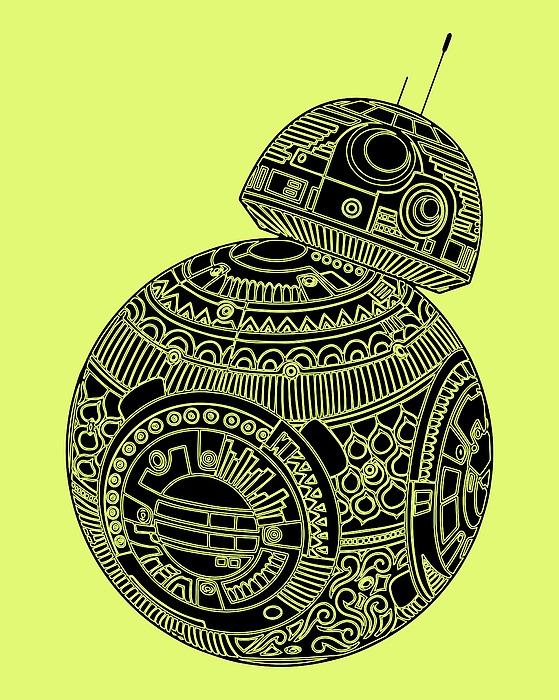 Bb8 Droid - Star Wars Art, Brown Mixed Media