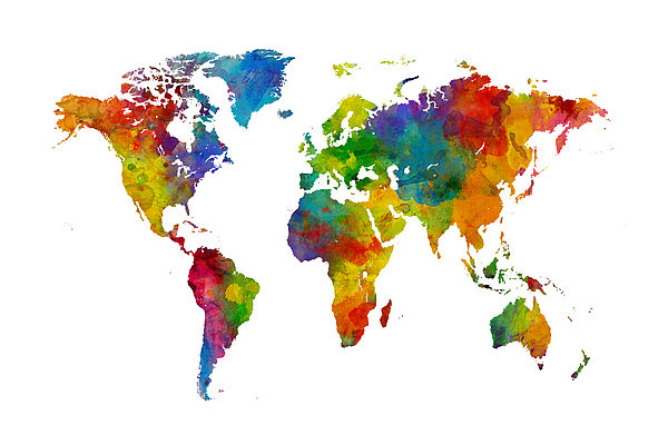 Map of the World Map Watercolor Round Beach Towel for Sale by Michael  Tompsett