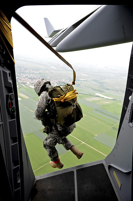 A Paratrooper Executes An Airborne Jump Photograph