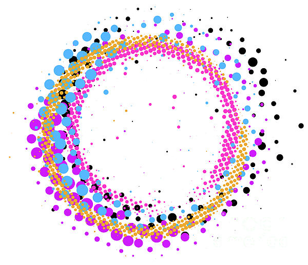 Shawn Hempel - Abstract colorful halftone paintbrush swirl circle