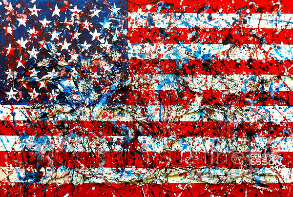 Genevieve Esson - American Flag abstract With Trees