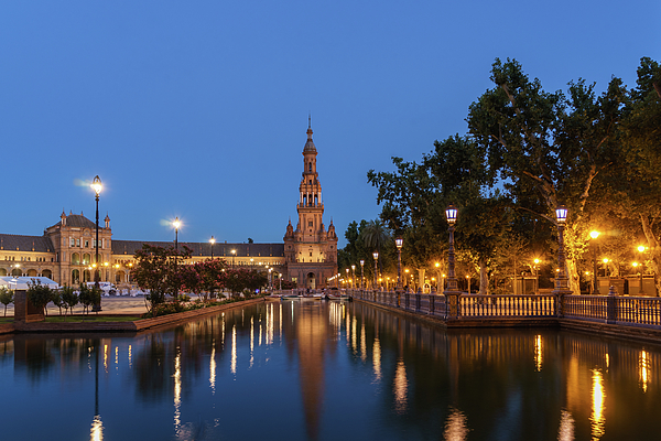 Georgia Mizuleva - Andalusian Night Magic - Blue Hour at Plaza de Espana in Seville Spain