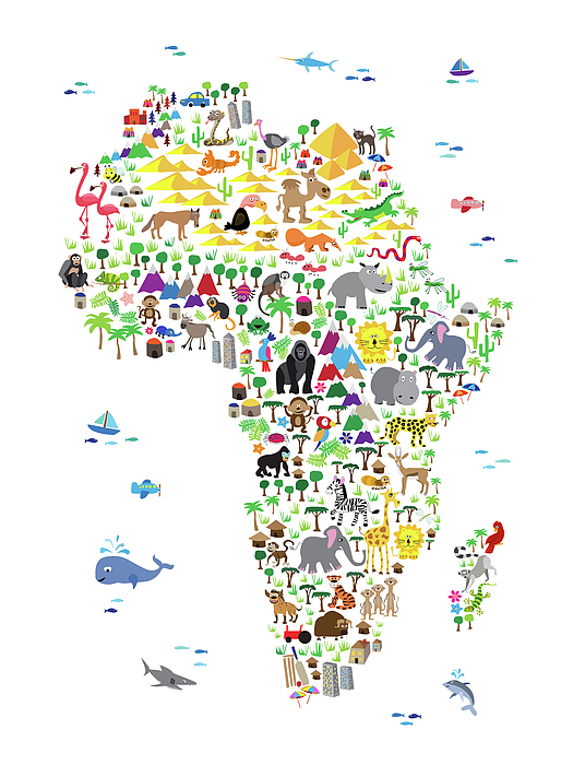 Animal Map Of Africa For Children And Kids Iphone X Case For Sale By