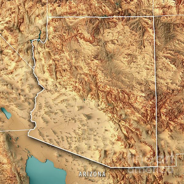 3d Map Of Arizona.Arizona State Usa 3d Render Topographic Map Border Duvet Cover