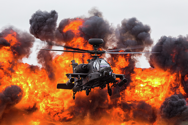 Jason Wells - Army Air Corps WAH-64D Apache in front of a wall of fire