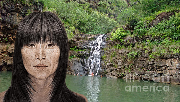 Jim Fitzpatrick - Asian Beauty By a Waterfall