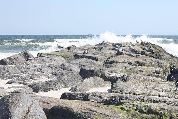 John Telfer - Atlantic Ocean Rolling Over Long Beach Jetty