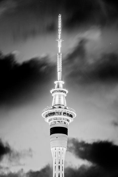 Joan Carroll - Auckland Sky Tower Night BW