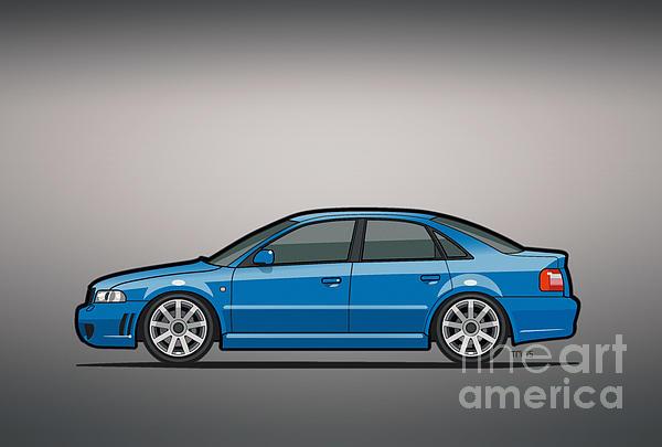 B5 A4 Caricature Car Art Print Audi S4