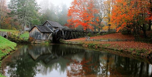 Carol R Montoya - Autumn Foggy Morning At Mabry Mill Virginia