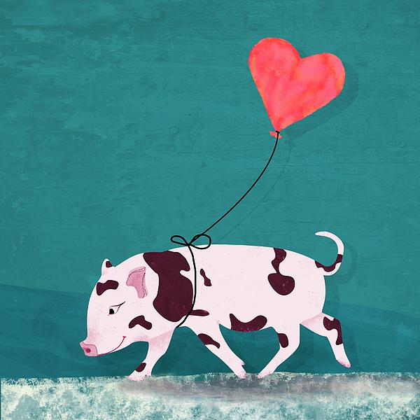 Baby Pig With Heart Balloon Digital Art