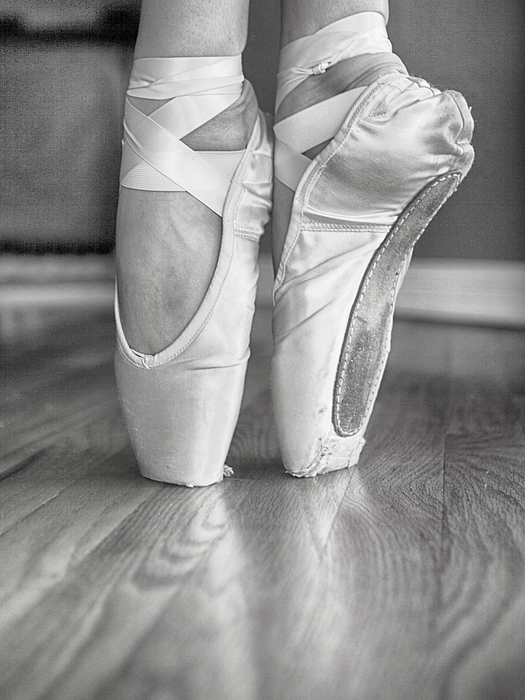 Ballet Pointe Shoes in black and white