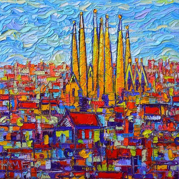 Ana Maria Edulescu - Barcelona Abstract Cityscape Sagrada Familia Modern Palette Knife Oil Painting By Ana Maria Edulescu