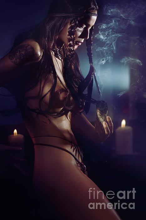 Beautiful Sexy Half Nude Native American Woman Tribal Shaman Bur