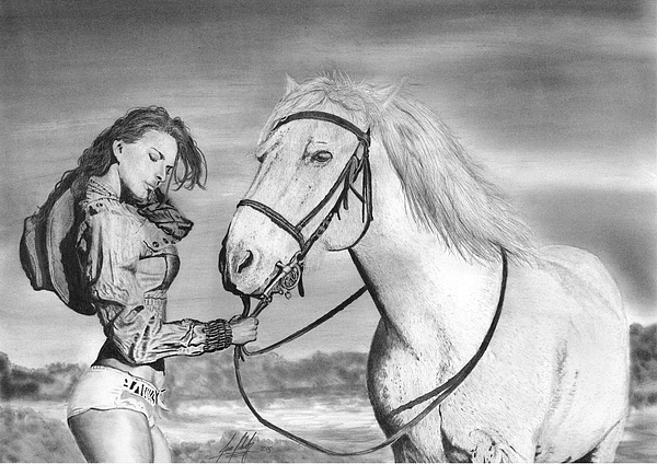 James Schultz - Beautiful Woman with Horse Drawing