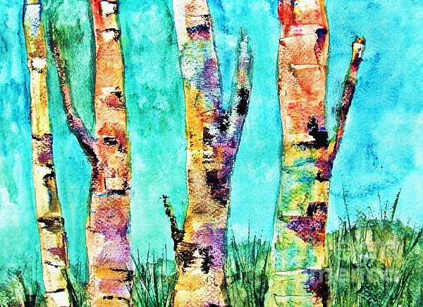 Ayasha Loya - Watercolor Painting of Birched Trees