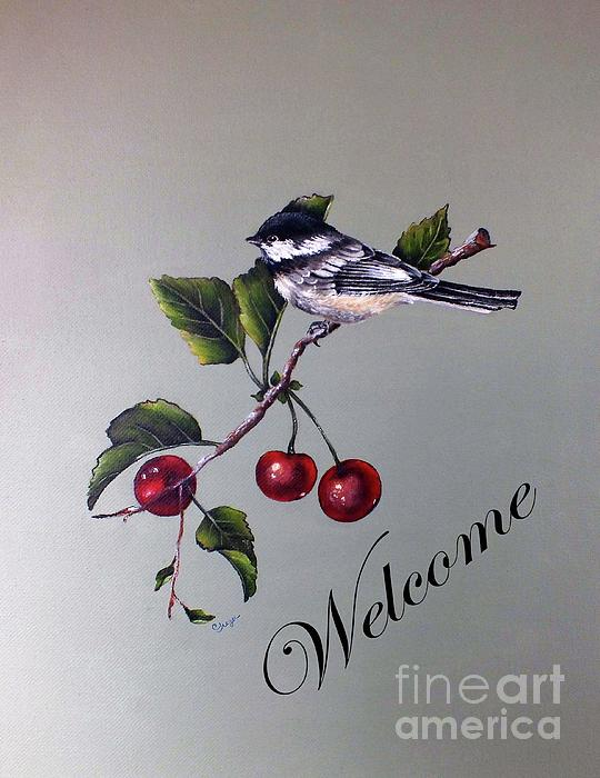 Cindy Treger - Black-capped Chickadee And Cherries - Welcome Sign
