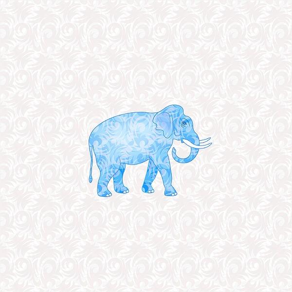 Blue Damask Elephant Digital Art