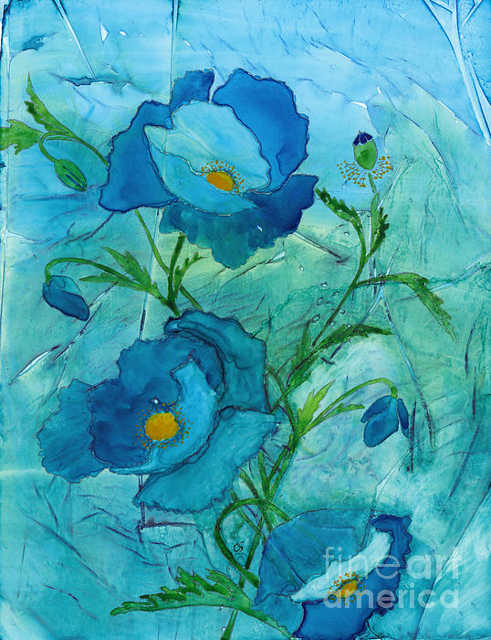 Conni Schaftenaar - Blue Poppies, Watercolor on Yupo