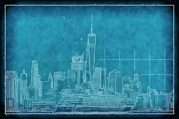 Geraldine Scull - Blue print of NYC