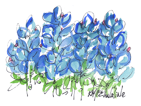 Kathleen McElwaine - Bluebonnet Dance Whimsey,by Kathleen McElwaine Southern Charm print watercolor, painting,