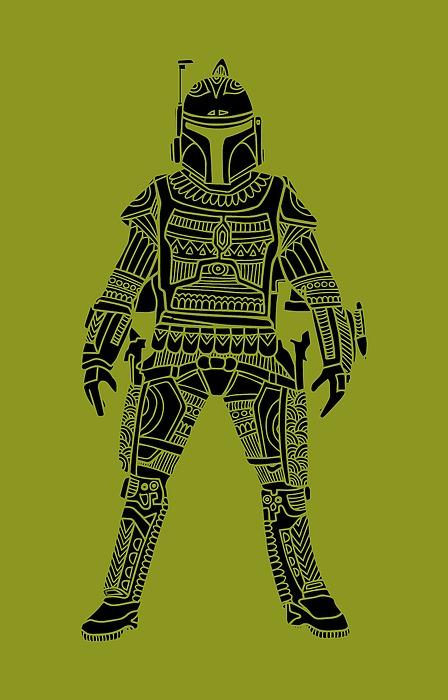 Boba Fett - Star Wars Art, Green Mixed Media
