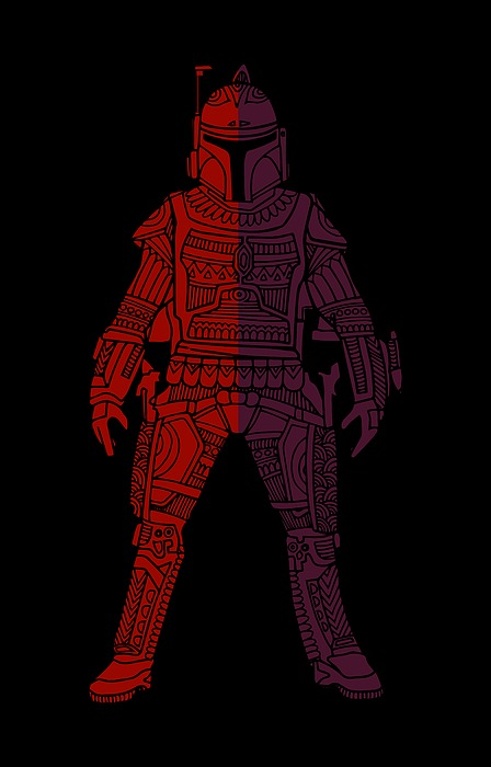 Boba Fett - Star Wars Art, Red Violet Mixed Media