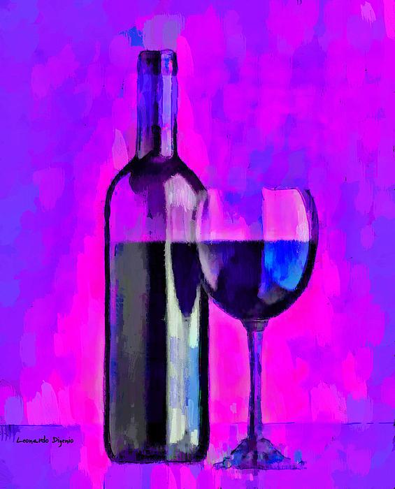 Leonardo Digenio - Bottle Of Wine Purple - PA