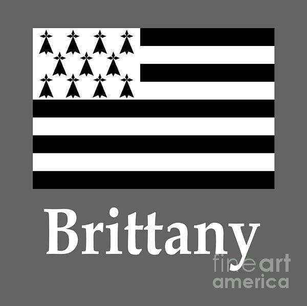 Brittany, France Flag And Name Digital Art