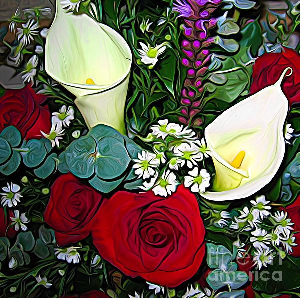 Rose Santuci-Sofranko - Calla Lily Roses Liatris Daisy Bouquet Expressionist Effect