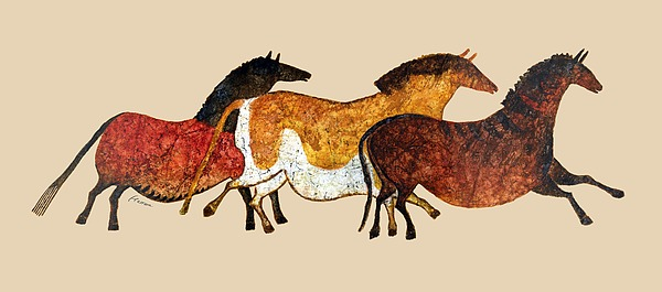 Cave Horses In Beige Painting