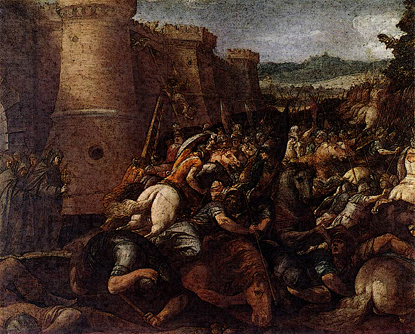 Giuseppe Cesari - CESARI Giuseppe St Clare With The Scene Of The Siege Of Assisi