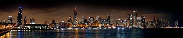 Jon Holiday - Chicago Skyline at NIGHT Extra Wide Panorama