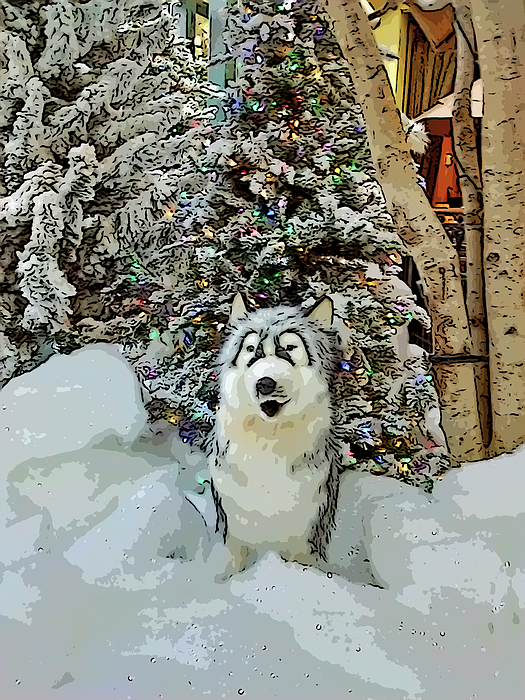 Marian Bell - Christmas Snow Dog - Old Print