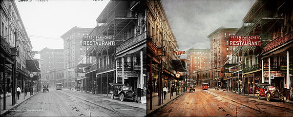 Mike Savad - City - New Orleans - A look at St Charles Ave 1910 - Side by Side