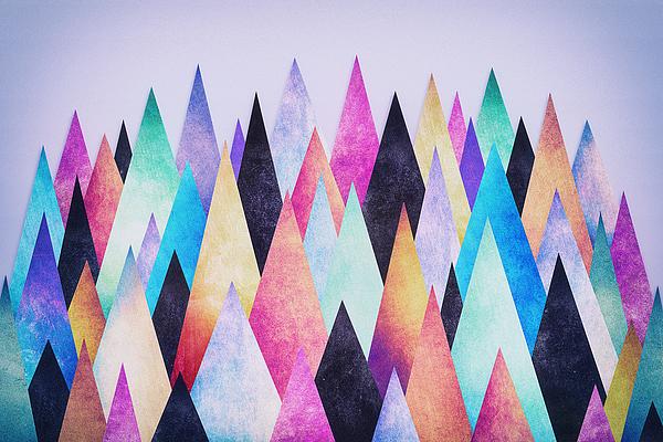 Colorful Abstract Geometric Triangle Peak Woods Digital Art