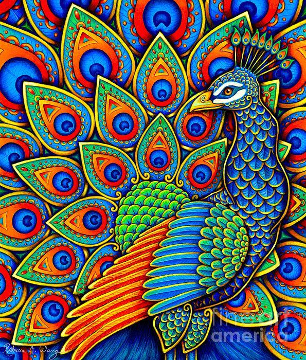 Rebecca Wang - Colorful Paisley Peacock