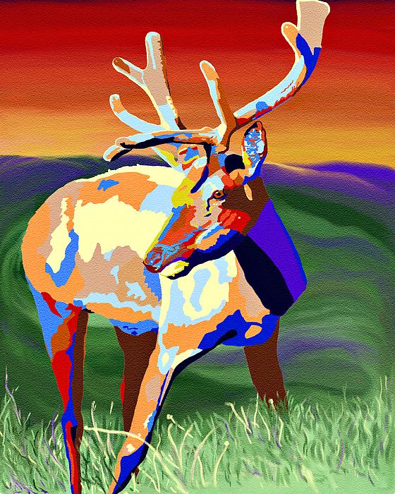 Colourful Elk Digital Art