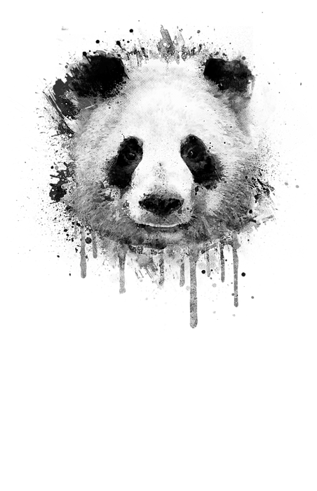 Cool Abstract Graffiti Watercolor Panda Portrait In Black And White Kids T Shirt