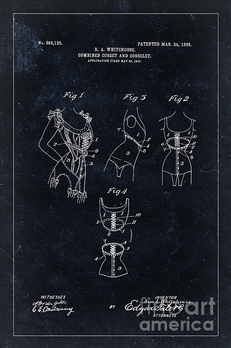 Delphimages Photo Creations - Corset patent from 1908 - black