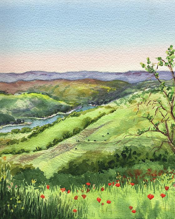 Creek In The Hills Watercolor Landscape Beach Towel For Sale By Irina Sztukowski