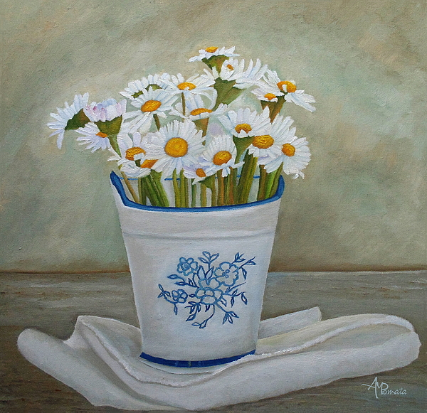 Angeles M Pomata - Daisies And Porcelain