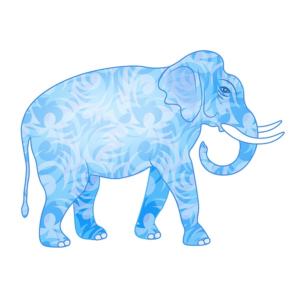 Damask Pattern Elephant Digital Art